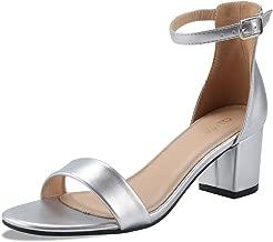 Padgene Sandalias Mujer Verano Zapatos de Tacón Grueso Sandalias de Vestir Zapatilla con Punta Abierta Correa de Tobillo