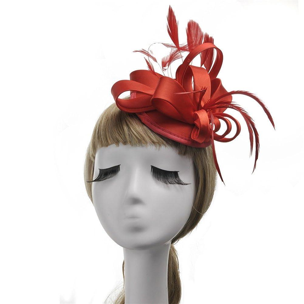女性の魅力的な帽子 女性のヴィンテージ魅惑的なカクテルティーパーティー帽子羽花ヘアピンヘッドドレス花花嫁パーティーウェディング (色 : 青)