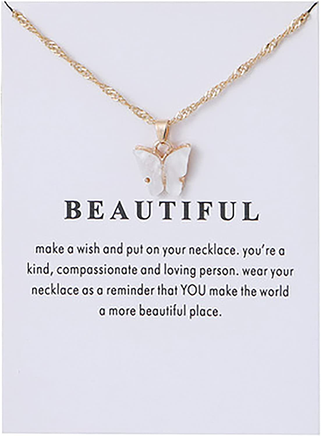 Qinday Acrylic Butterfly Pendant Necklace, Constellation Alloy Pendant Necklace Chain Jewelry Gift Card for Women,Girls,Mom, Birthday,Xmas,Thanksgiving