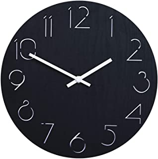11 Inch Silent Wood Wall Clocks, Battery Operated Non-Ticking Easy to Read, Large Numbers Round Wall Clock Decorative, for...