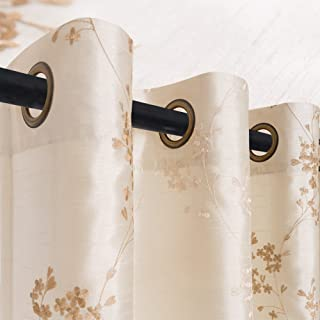 jinchan Faux Silk Floral Embroidered Sheer Curtains for Bedroom Embroidery Curtain for Living Room, 2 Panels, 95 Ivory