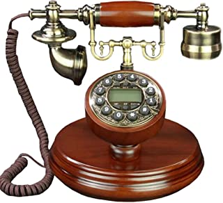 Old-Fashioned Telephone Solid Wood Button Retro Corded Office Home Caller Id Telephone Landline Retro Landline