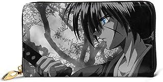 Hdadwy Cartera Rurouni Kenshin de Cuero Genuino con Cremallera, Bolsillo para Monedas Alrededor del Tarjetero, Organizador...