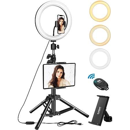 "ELEGIANT Aro de Luz Trípode LED 10.2"", Anillo de Luz con Trípode Soporte 1.34 m para Tableta/Móvil con Control Remoto Bluetooth, 3 Modos Luz + 10 Niveles Brillo para Tiktok Live Selfie Vlog Youtube"