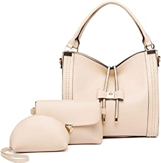 3 Piece Set Handbag Versatile Multi Piece Set (Color : Apricot)