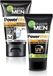 Garnier Men Power White Anti-Pollution Double Action Facewash, 100gm And Garnier Men Power White Anti-Pollution Brightenin...