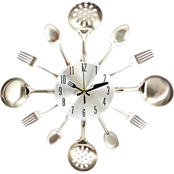 FBlue 3D extraíble Moderna Cocina Cubiertos Cuchara Tenedor Reloj de Pared Tatuajes de Pared Espejo: Amazon.es: Hogar