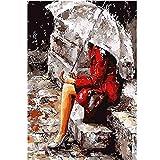 Leaixiang Mujer, Tenencia, Paraguas Color Number 15.6x19.5 Pulgadas Pintar por Numeros Foto para Principiantes - Gran Decoración(Sin Marco)