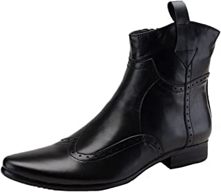 SANTIMON Men's Cowboy Boots Leather Wingtip Western Chelsea with Zipper