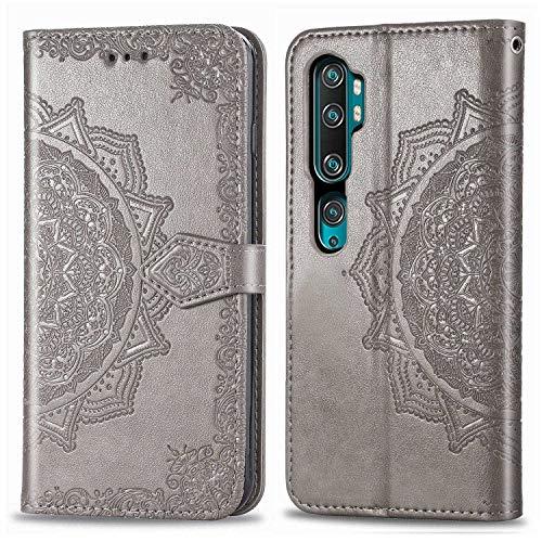 Bear Village Hülle für Xiaomi MI Note 10 Pro/MI Note 10 / MI CC9 Pro, PU Lederhülle Handyhülle für Xiaomi MI Note 10 Pro / CC9 Pro, Brieftasche Kratzfestes Handytasche mit Kartenfach, Grau
