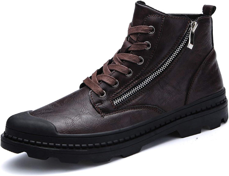 PU Leather Men Ankle Boots Fashion Snow Boots for Men Zipper Men's Boots Man Black Brown