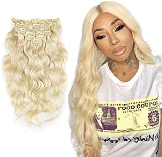 SHINING STYLE Blonde Curled Wavy Clip in on Hair Extensions Body Wave 100% Remy Human Hair Clip in Hair Extensions 30 Inches 7pcs 70g, Color #613 Blonde (30