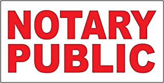 Notary Public Red Decal Sticker Retail Store Sign 9.5 X 24 Inches