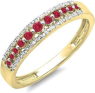 Dazzlingrock 系列 18K 金圆形红宝石和白色钻石女士周年纪念婚戒