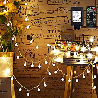 Mikikin Globe String Lights, 49ft 100 LED Warm White Fairy String Lights Waterproof with 8 Modes, Remote & Timer, UL Listed Plug in String Light Perfect for Indoor, Outdoor, Patio, Bedroom Decoration