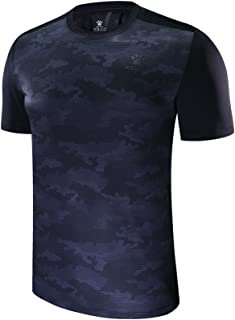 KELME Men's Cool Dry Athletic Short Sleeve Running T-Shirt Loose Breathable Camouflage Fitness Workout Tshirts for Men