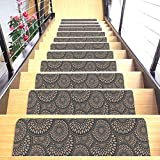 """Set of 7 Stair Treads Ultra-Thin with Non Slip Rubber Backing 9""""x26"""", Cappuccino 7 Pieces"""