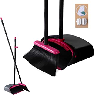 Dustpan and Brush Set Long Handle, Tall Broom and Upright Dust Pan with 5 Stainless Steel Rods / 4 Layers Broom / 1 Brush Holders for Outdoor, Indoor, Garden, Lobby Sweeping
