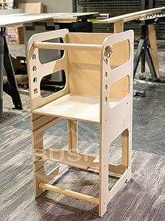 Bush Acres Kids Step Stool   Kitchen Helper Tower Toddler Stool   Montessori Wooden Furniture   Nursery Gift   Adjustable ...