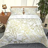 Double Duvet Cover Set Zipper Closure 79 x 79 Inch(200 x 200cm) White Gold Line Flowers 3D Printed Bedding Soft Duvet Cover Microfiber Quilt Bedding Set with 2 Pillowcases