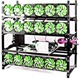 Bitcon Miner 19 GPU Frame Aluminum Mining Rig Open Air Case Stackable for Ethereum Mining Rig ETH BTC XMR Chassis Server Rack with 18 Fans