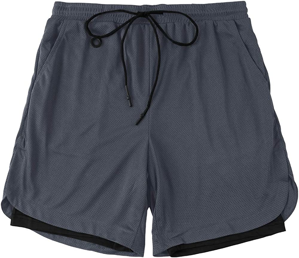 PASLTER Mens 2-in-1 Basketball Shorts Workout Running Gym Athletic Shorts with Phone Pocket