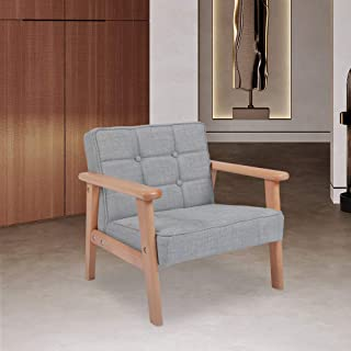 Kinbor Baby Children Armchair Mid-Century Retro Modern Kid's Chair Wooden Arm Upholstered Lounge Chairs Seat