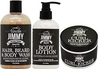 Uncle Jimmy Hair, Beard & Body Wash + Body Lotion + Curl Kicker