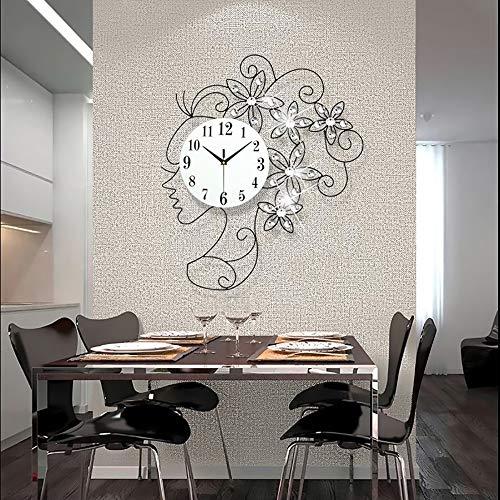 WHSS Wall Clock Moderno Diseño De Arte Creativo Estilo Mujer Salón Dormitorio Reloj De Pared Arte De Hierro Estilo Europeo Moda Reloj De Pared Mute Reloj Mesa