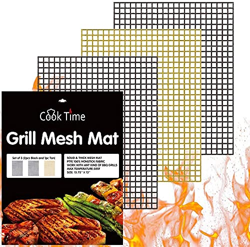 BBQ Grill Mesh Mat Set of 3 - Non Stick Barbecue Grill Sheet Liners Teflon Grilling Mats Nonstick Fish Vegetable Smoking Accessories - Works on Smoker,Pellet,Gas,Charcoal Grill,15.75x13inches