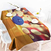 EwaskyOnline Fashions Rectangular Table Cloth,Bowling Party Spread Skittles Blue Ball on a Wooden Floor Moment of Crash Themed Print,Resistant/Spill-Proof/Waterproof Table Cover,W60x84L, Multicolor