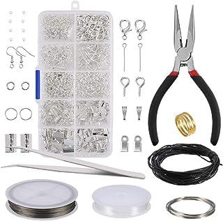 52a423856 Kit de Hacer Bisutería ,Kit de Accesorios de Joyería 912 piezas Plata  Joyería Artesanía Material