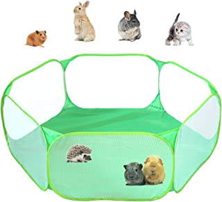 Small Animals C&C Cage Tent, Breathable & Transparent Pet Playpen Pop Open Outdoor/Indoor Exercise Fence, Portable Yard Fence for Guinea Pig, Rabbits, Hamster, Chinchillas and Hedgehogs (Green)