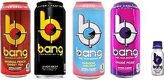 VPX Bang Variety - Georgia Peach Sweet Tea, Lemon Drop, Rainbow Unicorn, Frose Rose - 16fl.oz. (Pack of 8) + Bang Bangster Shot