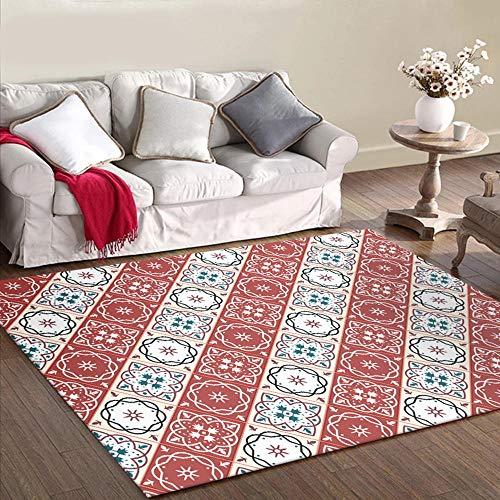 La Alfombra Sofa niños Infantil alfombras Alfombra de Sala de Estar de diseño de Costura de patrón de Flores geométricas Beige Rojo alfobras de Salon Decoracion casa 40*60cm