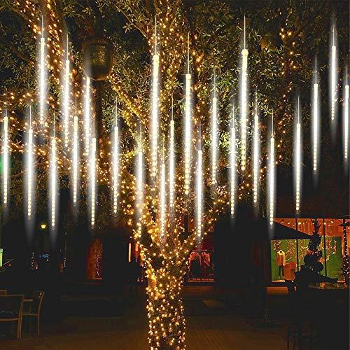 Aunus Luci Della Pioggia di Meteore 50cm 10 Tubi IP65 Nevicate che cadono Luci Meteore Doccia Pioggia Luci Luce a cascata per la decorazione della casa del giardino della festa nuziale (bianca)