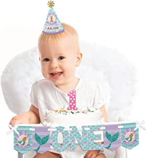 Big Dot of Happiness Let's Be Mermaids 1st Birthday - First Birthday Girl Smash Cake Decorating Kit - High Chair Decorations
