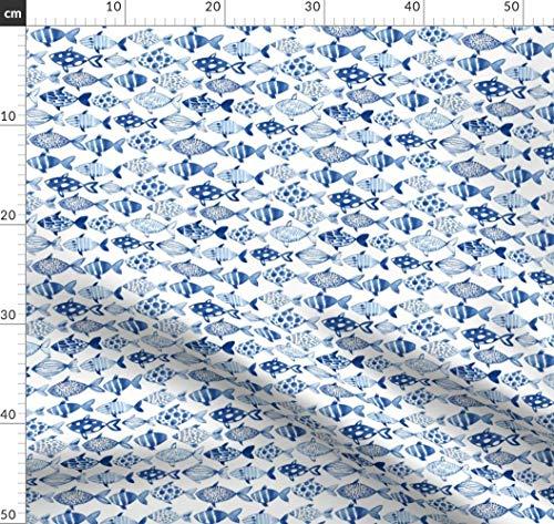 Fische, Fisch, Blau, Meer, Ozean, Wasserfarben Stoffe - Individuell Bedruckt von Spoonflower - Design von Tasiania Gedruckt auf Baumwollstoff Klassik