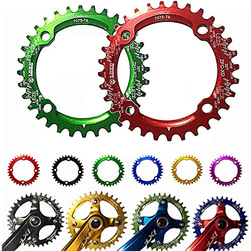 Schmales breites Kettenblatt Geschwindigkeit Fahrrad Kettenblatt, BCD 104MM Kettenblatt MTB Fahrrad Schmale Breite Runde Oval Einzelkette Ring 32t / 34t / 36t Rennrad, Mountainbike, BMX MTB Bike