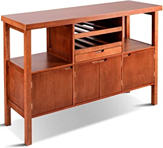 PNPGlobal Cabinet Storage Sideboard Buffet Wood Dining Cupboard Server Pantry Stand with Wine Rack Display Brown