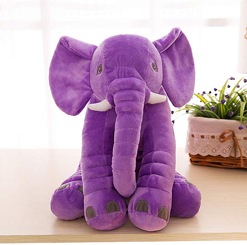 Yiwu Oucen Giant Elephant Stuffed Animal Plush Soft Elephant Plush Toy Elephant Soft Plush Toy Stuffed Animal Dolls Baby Kids Gift Funny Comfort Soft Plush Toys Elephant Pillow 11 X13 Purple