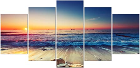 Pyradecor 5 Piece Extra Large Modern Seascape Artwork Gallery Wrapped Ocean Sea Beach Pictures Giclee Canvas Prints Waves ...