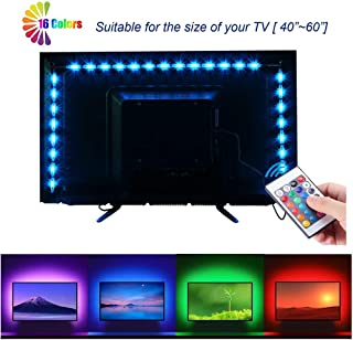 LED Strips Lights for TV 40-60in TV Backlight - RGB LED for TV neon bias Lighting Strips 2M/6.56ft HDTV USB Backlight Kit with Remote 16 Color 5050