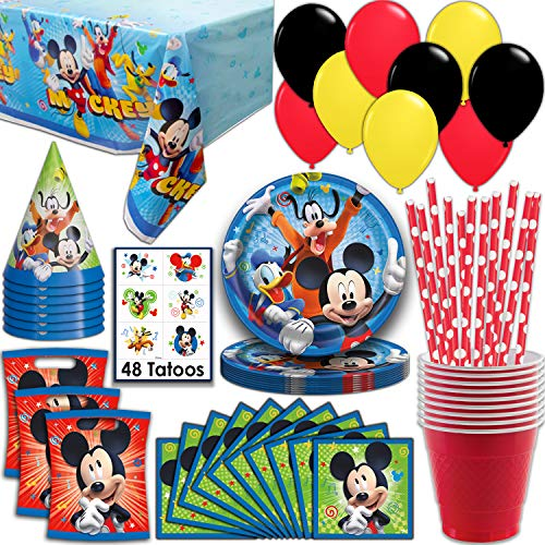 Mickey Mouse Party Supplies, Serves 16 - Plates, Napkins, Tablecloth, Cups, Straws, Balloons, Loot Bags, Tattoos, Birthday Hats - Full Tableware, Decorations, Favors for