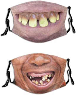 2 Pcs Smiling Bearded Man Funny Mask Face Mask Fashion Scarf Balaclava Face Mask Reusable Breathable With 4 Filter