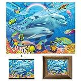 3D LiveLife Lenticular Cuadros Decoración - Familia de delfines de Deluxebase. Poster 3D sin marco del océano. Obra de arte original con licencia del reconocido artista, Michael Searle