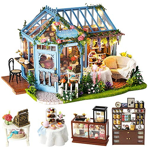 CUTEBEE Dollhouse Miniature with Furniture, DIY Dollhouse Kit Plus Dust Proof and Music Movement,...