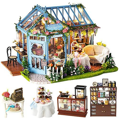 CUTEBEE Miniatura casa delle Bambole con mobili, Fai da Te Kit di Dollhouse di Legno, in Scala 1:24 Spazio Creativo per Idea Regalo San Valentino. Multicolore