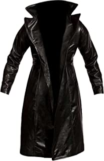 NM Fashions The Black Stand up Coller Faux & Geniune Leather Trench Coat Costume