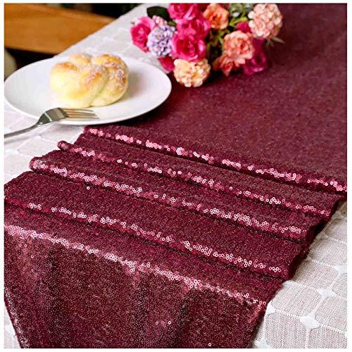 LQIAO Sequin Table Runner Wedding Matte Burgundy-12x72in, Wedding Events Sequin Tablecloth